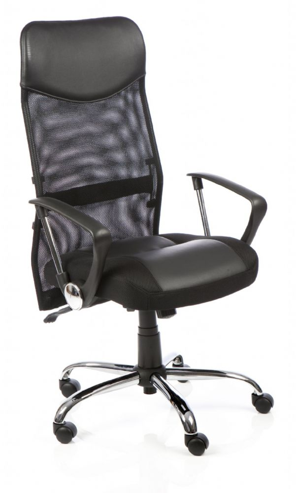 Vegas Mesh Back Executive Chair with Headrest Arms Upholstered Leather Seat Mesh Back
